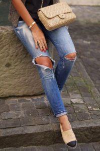 Chanel espadrilles denim outfit
