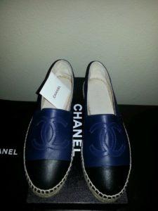 Chanel espadrilles lambskin navy blue