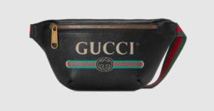 black gucci print small belt bag