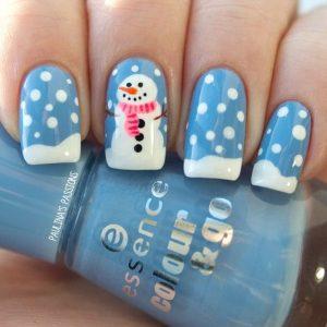 snowman nail art1