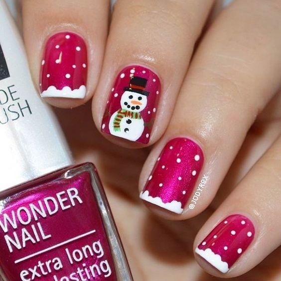 snowman nail art2