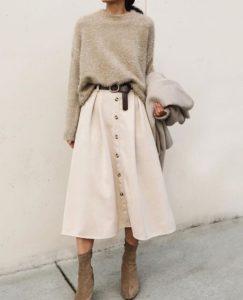 sweater and midi skirt