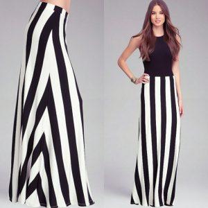 vertical stripes maxi skirt
