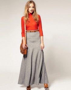 woolen maxi skirt