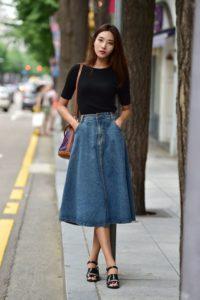 knee length flare denim skirt