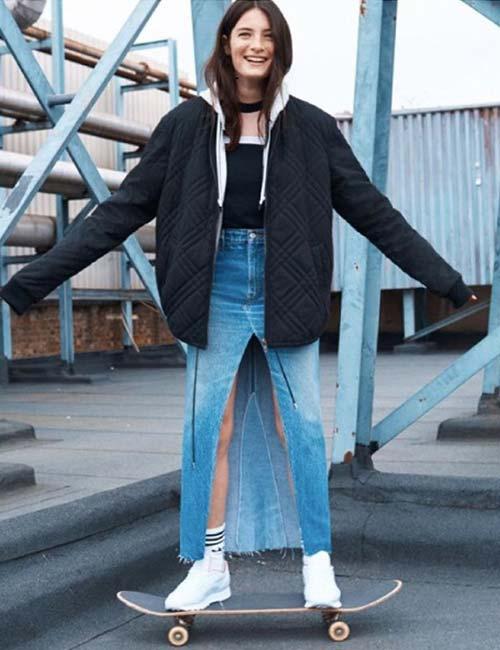 long denim skirt with center slit