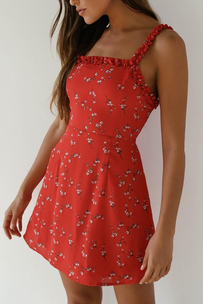 red floral skater dress